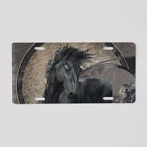 Gothic Friesian Horse Aluminum License Plate
