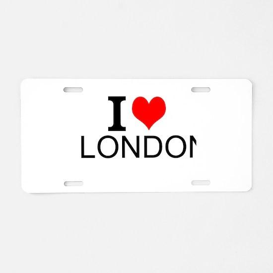 I Love London Aluminum License Plate