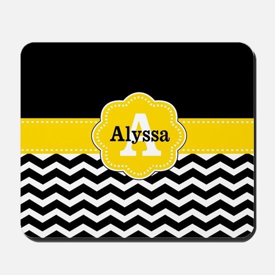 Black Yellow Chevron Personalized Mousepad