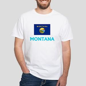 Montana Flag Classic Blue Design T-Shirt