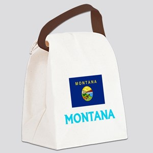 Montana Flag Classic Blue Design Canvas Lunch Bag
