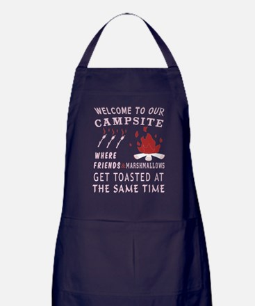 Welcome To Our Campsite T Shirt Apron (dark)