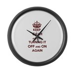 Keep Calm And Try Turning It Off Large Wall Clock