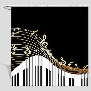 Ivory Keys Piano Music Shower Curtain