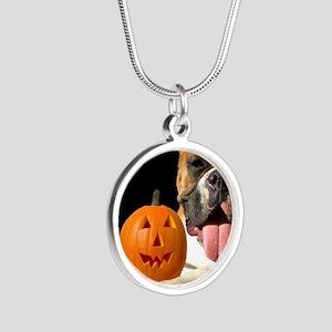 Halloween Boxer Dog Silver Round Necklace