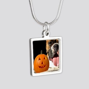 Halloween Boxer Dog Silver Square Necklace