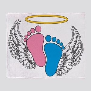 Angel Baby Footprints - Pregnancy Lo Throw Blanket