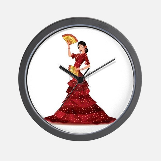 spanish flamenco dancer Wall Clock