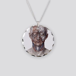Human Anatomy Face Necklace Circle Charm