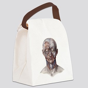 Human Anatomy Face Canvas Lunch Bag