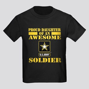 Proud Daughter U.S. Army Kids Dark T-Shirt