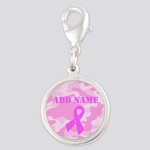 Pink Ribbon Camo Silver Round Charm