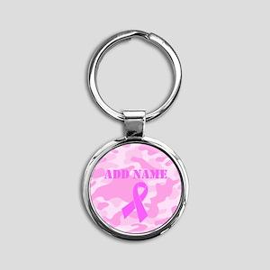 Pink Ribbon Camo Round Keychain