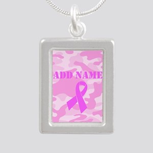 Pink Ribbon Camo Silver Portrait Necklace