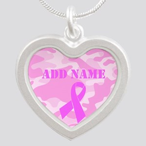 Pink Ribbon Camo Silver Heart Necklace