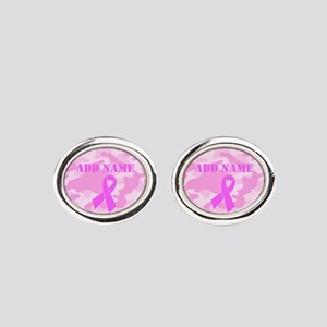 Pink Ribbon Camo Oval Cufflinks