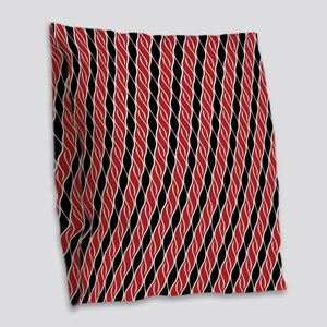 Red and Black Stripes Burlap Throw Pillow