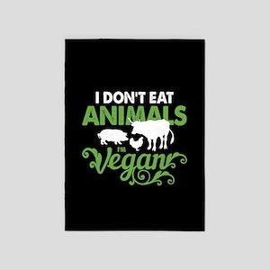 Vegan Animals 5'x7'Area Rug