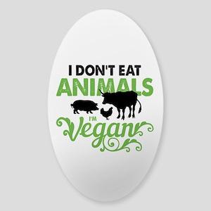Vegan Animals Sticker (Oval)