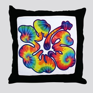 hibiscus tie dye 1 Throw Pillow