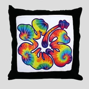 hibiscus tie dye 1 Throw Pillow