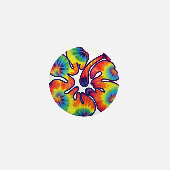 hibiscus tie dye 1 Mini Button
