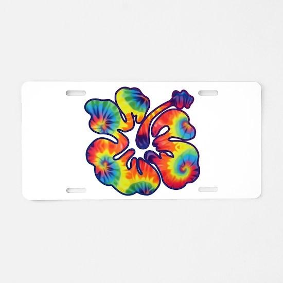 hibiscus tie dye 1 Aluminum License Plate