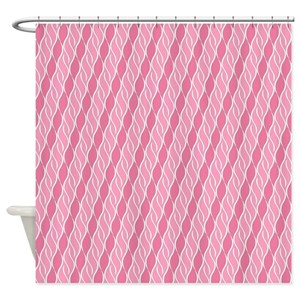 Pink And White Striped Shower Curtains