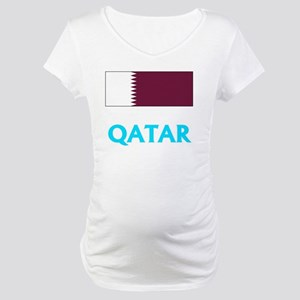 Qatar Flag Classic Blue Design Maternity T-Shirt