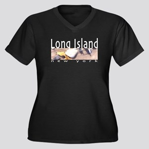 Long Island Women's Plus Size V-Neck Dark T-Shirt
