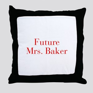 Future Mrs Baker-bod red Throw Pillow