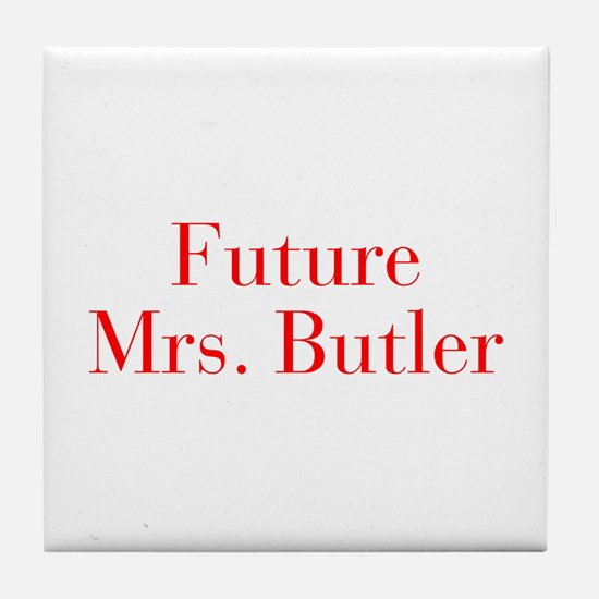 Future Mrs Butler-bod red Tile Coaster