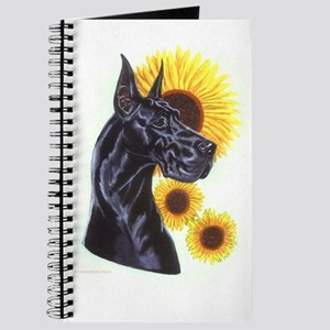Black Gt Dane w/ Sunflowers Notepad