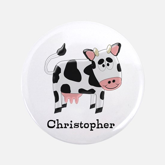 """Cow Just Add Name 3.5"""" Button (100 pack)"""