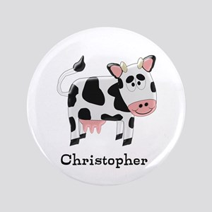 """Cow Just Add Name 3.5"""" Button"""