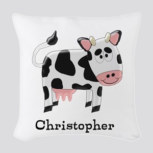 Cow Just Add Name Woven Throw Pillow