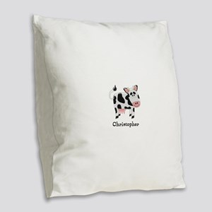 Cow Just Add Name Burlap Throw Pillow