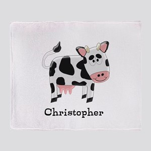 Cow Just Add Name Throw Blanket