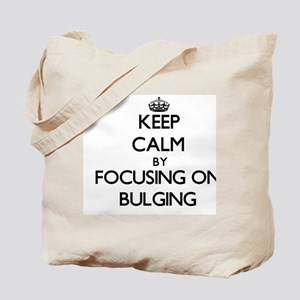 Keep Calm by focusing on Bulging Tote Bag