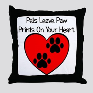 Paw Print Heart Throw Pillow