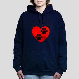 Paw Print Heart Women's Hooded Sweatshirt