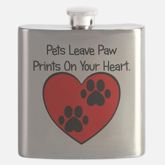 Paw Print Heart Flask
