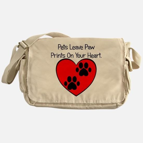 Paw Print Heart Messenger Bag