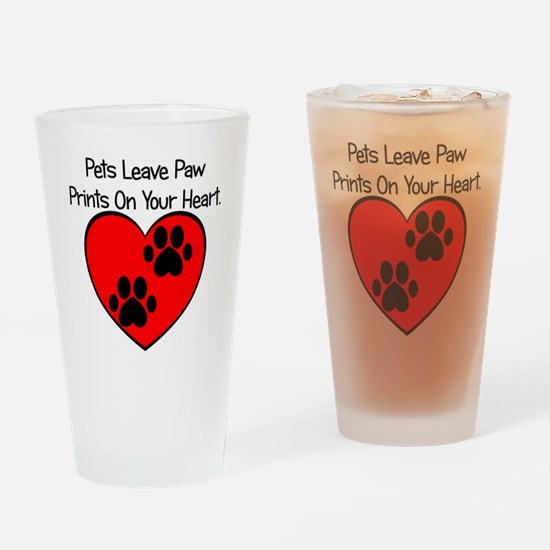 Paw Print Heart Drinking Glass