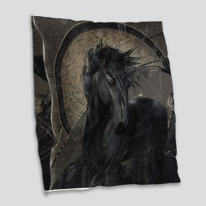 Gothic Friesian Horse Burlap Throw Pillow
