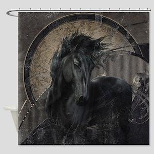 Gothic Friesian Horse Shower Curtain