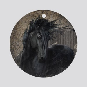 Gothic Friesian Horse Ornament (Round)
