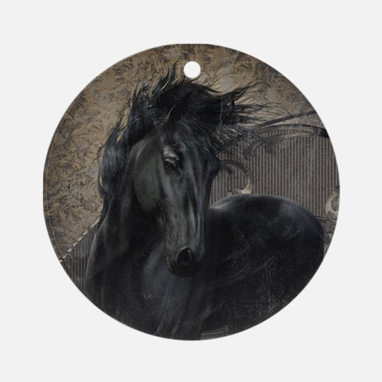 Gothic Friesian Horse Ornament (Round)