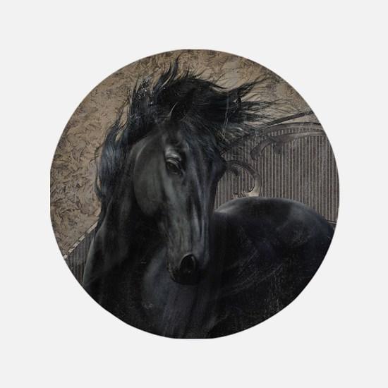 """Gothic Friesian Horse 3.5"""" Button"""