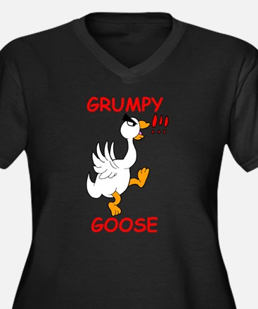 Grumpy Goose Women's Plus Size V-Neck Dark T-Shirt
